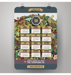 Doodles cartoon school calendar 2016 year design vector