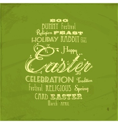 easter distressed background on green vector image vector image