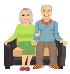 Elderly couple sitting close together on sofa vector