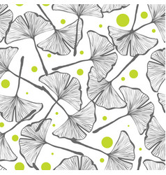 Gingko biloba seamless background pattern vector