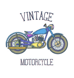 Hand drawn vintage motorcycle logo design vector