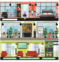 Home and office cleaning interior poster vector