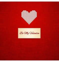 Knitted heart on seamless background vector image vector image