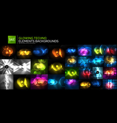 Neon glowing light abstract backgrounds collection vector