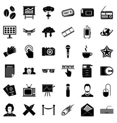 Newspaper icons set simple style vector