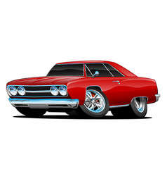 Red hot classic muscle car coupe cartoon vector