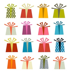 Retro Gift Boxes Set Isolated on White Backg vector image vector image
