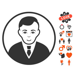 rounded gentleman icon with love bonus vector image vector image
