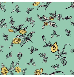 seamless pattern flower green background vector image vector image