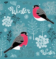 seamless winter pattern of frozen forest and birds vector image vector image