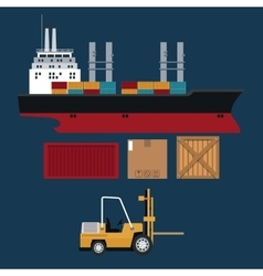 Ship and forklift truck container boxes delivery vector