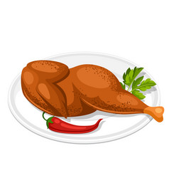 smoked chicken with parsley leaf and chili on vector image vector image