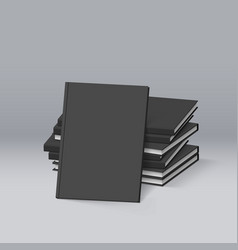 stack of blank black books mockup template for vector image