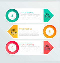 Three banner infographic options vector