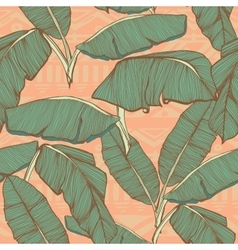 Tropical palm leaves seamless background vector