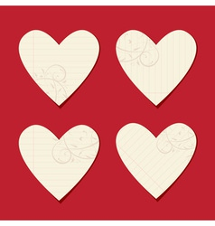 Valentine cards from sheet of paper vector image