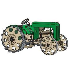 Vintage green tractor vector
