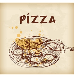 Vintage hand drawn pizza vector image