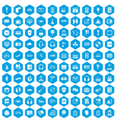 100 headphones icons set blue vector image