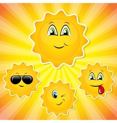 Set of sun smileys vector