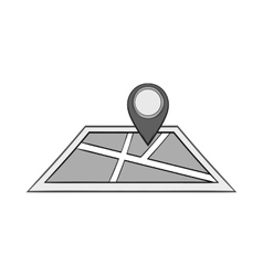 Map and jps sign icon black monochrome style vector