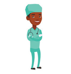 Young confident surgeon with arms crossed vector