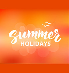 Summer holidays hand drawn brush lettering vector
