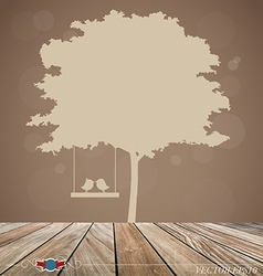 Background with tree bird vector