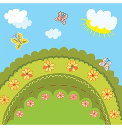 Summer landscape for kids vector