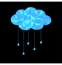 Blue polygonal cloud with hanging drops polygonal vector