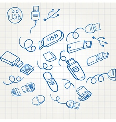 Sketch set usb flash memory card vector