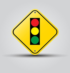 Traffic light over yellow sign on white vector