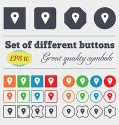 Map pointer gps location icon sign big set of vector