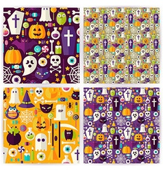 Four flat seamless halloween party patterns vector