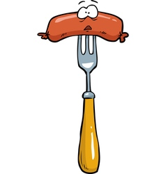 Sausage on a fork vector