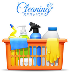 Household cleaning products in basket vector