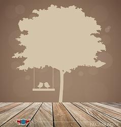 Background with tree bird vector