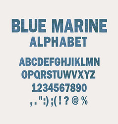 Blue marine alphabet simple striped sea font vector