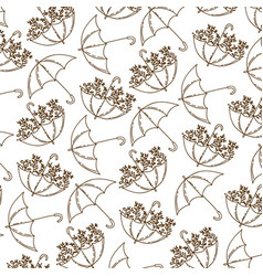 Brown silhouette pattern of umbrellas with plants vector
