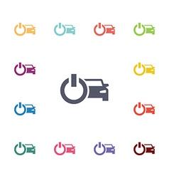 car power flat icons set vector image