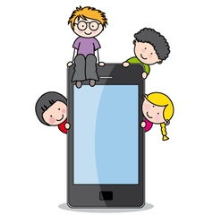 Children with a cell phone vector
