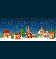Christmas and new year card church tree vector