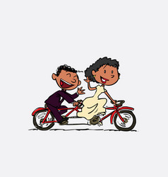Couple of black newlyweds riding a tandem happy vector