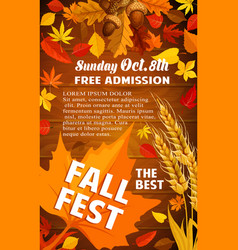 Fall harvest festival banner with autumn leaf vector