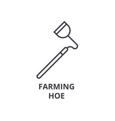 farming hoe line icon outline sign linear symbol vector image