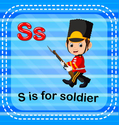 Flashcard letter s is for soldier vector