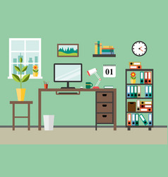 flat modern design concept for office workplace vector image vector image