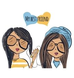 Fun fashionable girl friend fashion girls best vector