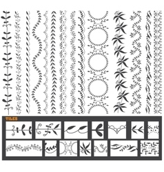 Hand drawn line border set vector image vector image