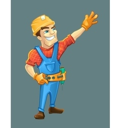 Handyman builder in helmet pointing to the top vector image vector image